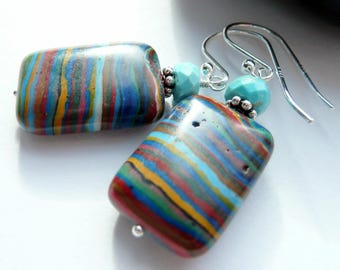 Artisan Rainbow Calsilica Sleeping Beauty Turquoise Sterling Dangle Earrings Colorful Southwestern Western Style Earrings Boho Gift for Her