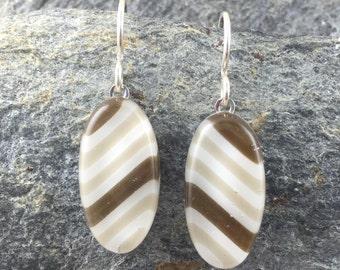 Earthy Oval Fused Glass Earrings. Fused Glass Jewelry. Neutral Earrings. Modern Jewelry. Stripe Earrings. Handcrafted in Texas.