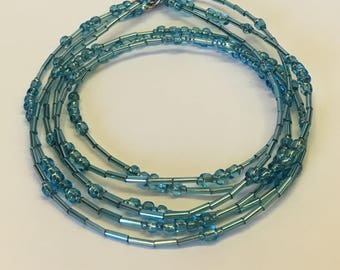 3 Strand Glass Bead Necklace - Frosty Pale Blue - Silver - Shimmer