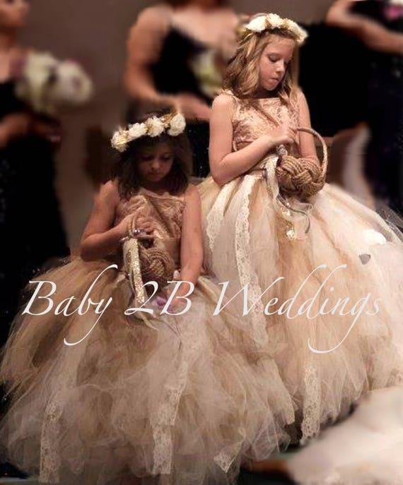 Cream Lace Dress Flower Girl Dress Party Dress Birthday Dress Dark Gold Satin Dress Wedding Dress Toddler Dress Girls Dress Tulle Dress