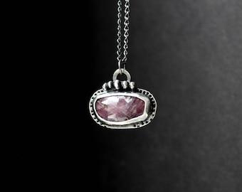 READY TO SHIP- Raw Rose Cut Dark Pink Sapphire Oxidized Sterling Silver Necklace | Minimalist Boho Bohemian | Gugma Jewelry Women's