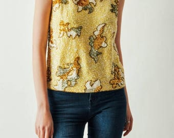 ON SALE Vintage Yellow Sequined Abstract Top