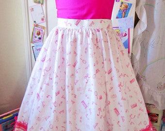 Barbie rockabilly skirt, 50s retro kawaii pinup girl calf length size large L