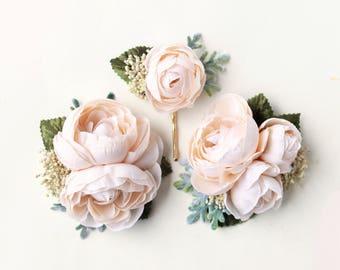 Ivory flower clip set, Autumn wedding hair clips , Off-white flower headpiece, bridal hair accessory, Beige flower clips, Cream floral pins