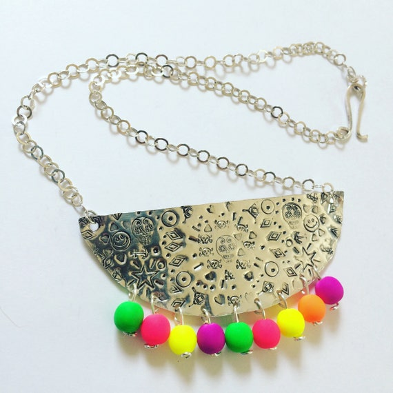 Frida Kahlo Inspired Bib Necklace in Sterling Silver with Neon Glass Beads - Boho - Festival - Statement - Folk Art - Dias de los Muertos -