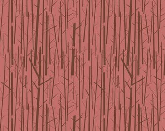 Perch in Rose Western Birds Organic Cotton Fabric Birch