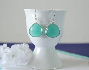Green Gemstone Silver Earrings, or Gold, Chalcedony, Seafoam Green Earrings, Small, Tear Drop Gemstone, Heart Shape