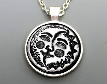 Polymer Clay Pendant, Sun and Moon Celestial Pendant in Metallic Silver and Black