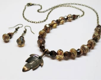 Autumn Leaf Beaded Necklace and Earring Set, Czech Fire Polished Lustre Picasso Glass Beads, Beaded Jewelry
