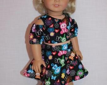 18 inch doll clothes, skeleton animal print skater/circle skirt, skeleton animal print peek a boo shoulder shirt, Upbeat Petites
