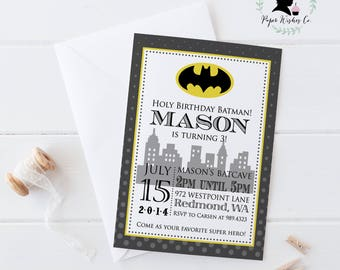 DIY Batman Birthday Invitation, Batman Birthday Party, Batman Party, Superhero Birthday Invitation, Printable Batman Invitation