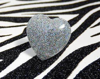Holographic Silver Heart Ring, Resin Adjustable Ring, Soft Grunge, Pastel Goth, Iridescent Sparkle Jewelry