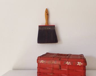 Red Antique Industrial Painting Brush Objet D'Art Conversation Piece Interesting Object Mid Century Decor Eclectic Artist Home Industrial