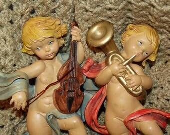 Italian Angel, Ornament, Wall Hanging, Cherub, Putti, Hollywood Regency, Blonde Hair, Blue Eyes, Angelic Christmas Angels Marked Italy