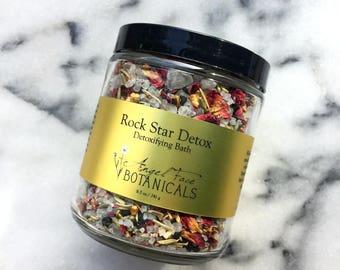 Rock Star Detox Detoxifying Bath Salts w/ Activated Charocal + Black Hawaiian Salt, Herbal Detox, Organic Bath Tea, Natural Bath Soak 8.5 oz
