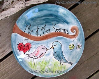 Custom love birds wedding plate engagement gift wedding gift 9th anniversary pottery gift custom pottery plate bride groom rustic wedding