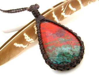 RARE Sonoran Sunrise jewelry, Sonoran Sunrise neckalce, Chrysocolla Necklace, Designer stone, rare, healing gemstones and crystals, OOAK