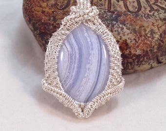 Beautiful Blue Lace Agate woven wire wrapped in .999 fine silver, pendant