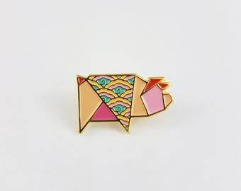 Origami Pig Soft Enamel Pin,Enamel Pin,Origami Jewelry,Pig Pin,Pig Gift,Pig Lover,Origami Pig,Pin,Piggy,Cochon,Enamel Pins,Stocking Stuffers