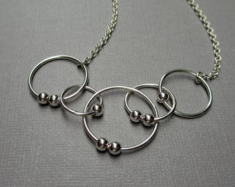 5 Circle Necklace, Fidget Circles, Sterling Silver Jewelry, Spinning Bead Necklace, Fidget Jewelry, Worry Beads, Mama Metal, Anxiety Jewelry