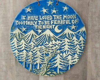 Moon wall hanging. Moonchild, Night owl gift. Mountains, stars and trees landscape carving. Woodcut style, carved round wall tile in relief.