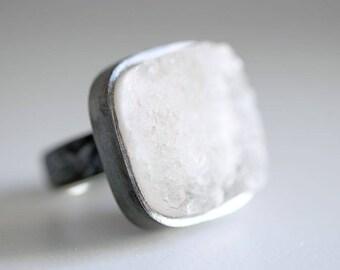 Gretel ring. Black Sterling silver ring with natural white drusy Quartz. Quartz ring, druzy quartz ring, crystal ring, white druzy ring.