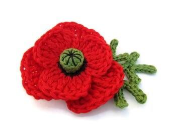 Crochet poppy brooch, crochet flower brooch, fiber brooch, crochet jewelry, Mother's day gift, red flower brooch, boho crochet brooch, vegan