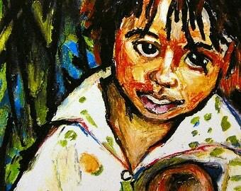 Art Print - Wall Art Children - Ethnic Art - Paintings Bahamas - Red Bays - Andros Island - Bahamas - Portrait Art