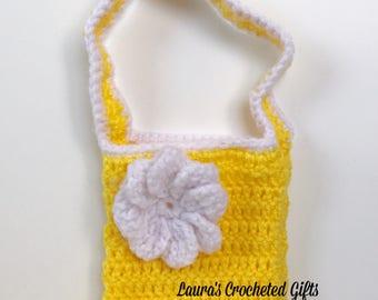 Flowered Purse, Crochet Purse, Handmade Crochet, Yellow Flower Purse, Small Crochet Purse, Yellow Crochet Purse, Crochet Bag, Flower Bag