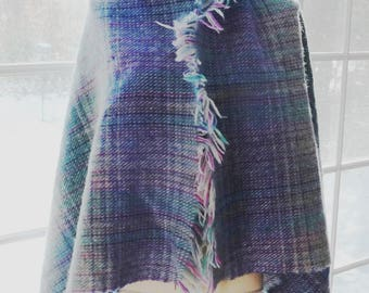 "Irish Wool Wrap - Womens Wrap - Blanket Scarf - Blue Green Purple Grey Tartan- Aqua Teal Gray Plaid- Ireland - J Hanly 63"" x 37"" plus fringe"