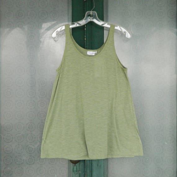 Prairie Cotton A-Line Tank -M- Green Tea Light Weight Cotton NWT