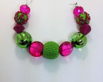 SALE - Set of 11 Hot Pink and Lime Assorted Variety Beads
