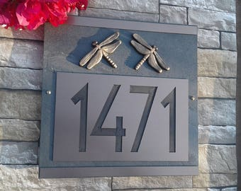 "Modern Craftsman Dragonfly Address Plaque Large 5"" House Numbers"