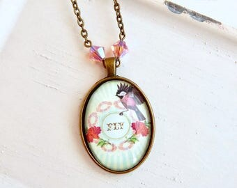Aya - Bird charm necklace - Fly - Swarovski crystal - pink crystal - antique brass - bird necklace