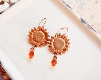 Clytie - copper sunflower earrings - sunflower charm earrings - copper earrings - amber earrings