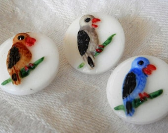 Set of 3 VINTAGE Painted Bird on White Glass BUTTONS