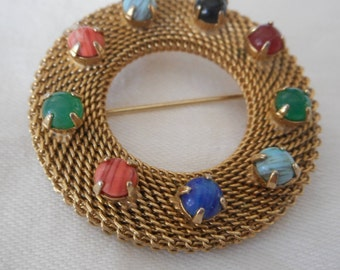 VINTAGE Multi Color Stone on Netted Gold Metal Chain Costume Jewelry Brooch
