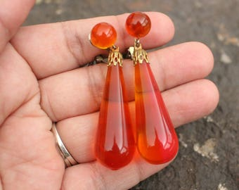 Vintage Earrings, Orange Earrings, Vintage Clip On Earrings, Plastic Earrings, Drop Earrings, Vintage Dangle Earrings