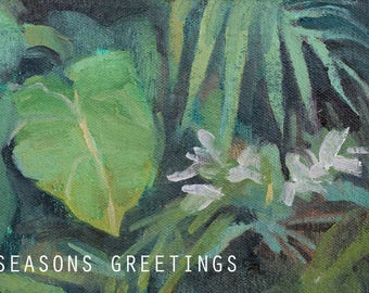 seasons greetings card / tropical card / jungle cards / blank greeting cards / tropical art