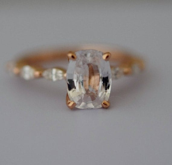 White sapphire engagement ring. Rose Gold Engagement Ring. Godivah ring. One of a kind ring Sapphire Cushion Engagement ring Eidelprecious