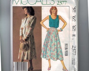 1980s Vintage Sewing Pattern McCalls 2377 Laura Ashley Jacket with Puff Sleeves Top Skirt Romantic Size 10 Bust 32 1/2 1985 80s UNCUT