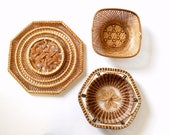 Three Piece Set of Intricately Detailed Basket Wall Hangings in Neutral Brown Hues
