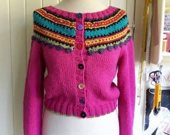 Handknitted Wool Cardigan, CONNIE Yoked cardi #3369