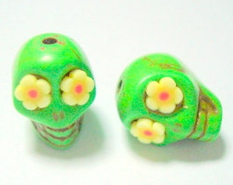 Green and Yellow Flower Eyes in Day of The Dead Sugar Skull Beads-12mm