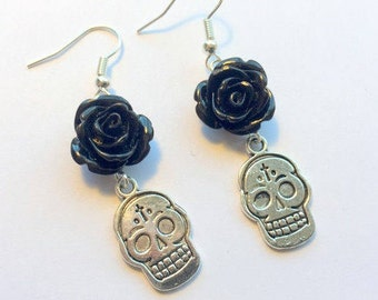 Sugar Skull Earrings Day of the Dead Silver Sugar Skull Charm and Black Resin Roses
