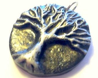 Tree of Life Pendant Silver Black Gold Yggdrasil Handmade Polymer Clay Pendant