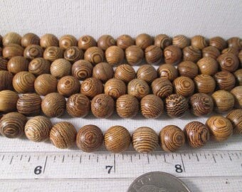Wood Beads, 10mm, Brown Natural Stripe Wooden Beads, 10mm Round Wood Beads, 1mm Hole, 14 Inch Strand, QTY 1 - wb100