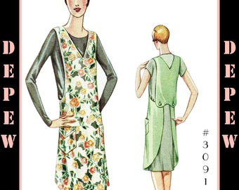 Vintage Sewing Pattern 1920s Ladies' Apron #3091 - INSTANT DOWNLOAD