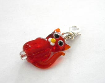 Red Cat Charm with Lobster Clasp Lampwork Glass