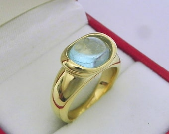 AAAA  Blue green Aquamarine 3.09 carats  10x9mm Cabochon in 14K Yellow gold bezel set ring.  0266